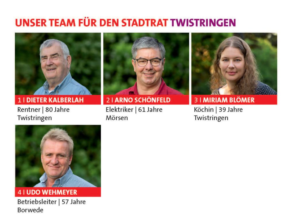 Kandidaten für den Stadtrat