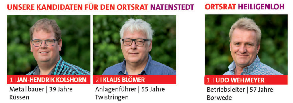 Ortsratskandidanten für Natenstedt und Heiligenloh